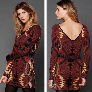 Free People Aztec Sweater Bodycon Mini Dress